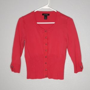 White House Black Market Red Coral Button Cardigan